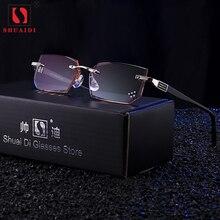 울트라 라이트 무테 안경 읽기 남성 안티 블루 레이 브랜드 디자이너 옐로우 컴퓨터 안경 돋보기 + 1.5 + 2.0 + 2.5