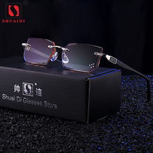 Ultra Licht Randlose Lesebrille Männer Anti Blue Ray Marke Designer Gelb Computer Brille Lupen + 1,5 + 2,0 + 2,5