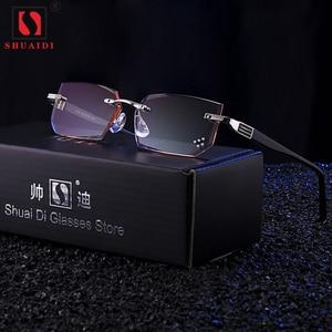 Image 1 - Ultra leve óculos de leitura sem aro dos homens anti azul ray marca designer amarelo computador lupas + 1.5 2.0 2.5