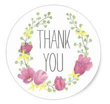 1.5inch Wedding Floral Thank You Tulip Flower Wreath Favor Classic Round Sticker
