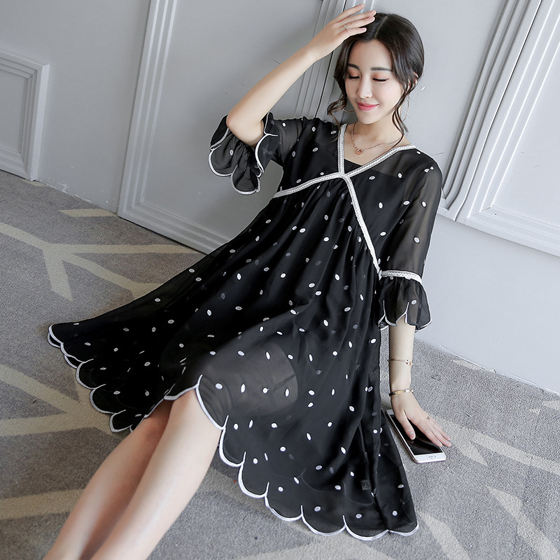 New Summer Chiffon Maternity Dress Embroidery pregnancy Dresses Casual Expectant Mother Half Sleeve Loose Pregnant Women Clothes