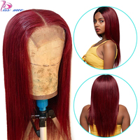 Kiss Mee 99J Burgundy Lace Front Wig Human Hair Red Long Straight Wigs Remy Razilian 13*4 Lace Frontal Lace Wig For Black Women