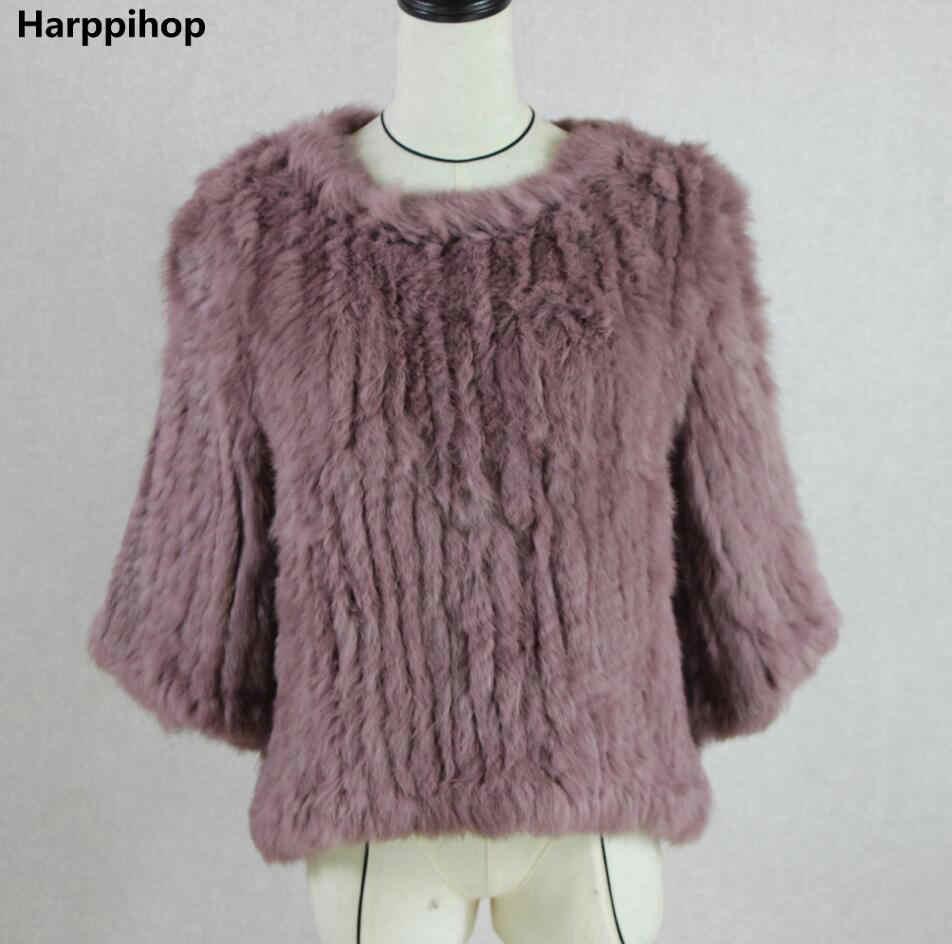 Harppihop * Новинка, хит продаж, женское вязаное пальто с натуральным кроличьим мехом, куртка, жилеты, накидка, комбинезон, 11 цветов, черный, бежевый