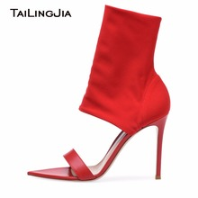 Fashion Summer Black Open Toe Zipper Woman Shoes Zipper High Heel Stilettos Stretch Red Sandals Sexy Ankle Boots Free Shipping