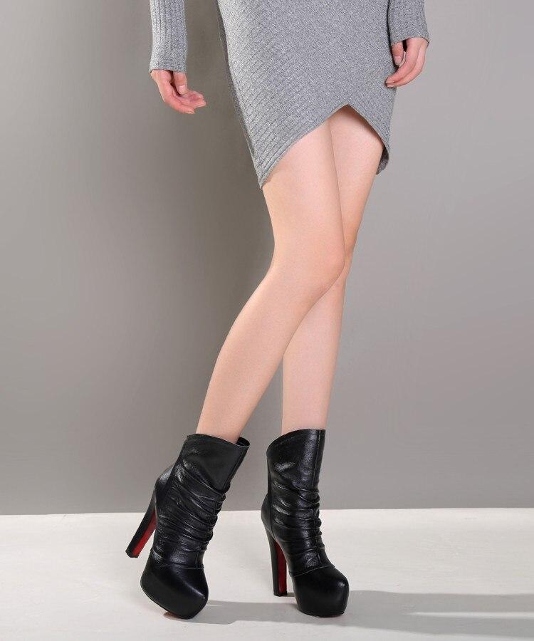 Mode Stiefeletten Ef0622 5 Plissee Größe Original Runde 8 Heel Heels Schuhe Echt Kappe ef0622 Leder Uns 4 Frauen Absicht 13cm 11 Schwarz Heel Platz 13 Stiefel Frau 15cm RqHI5xwt5