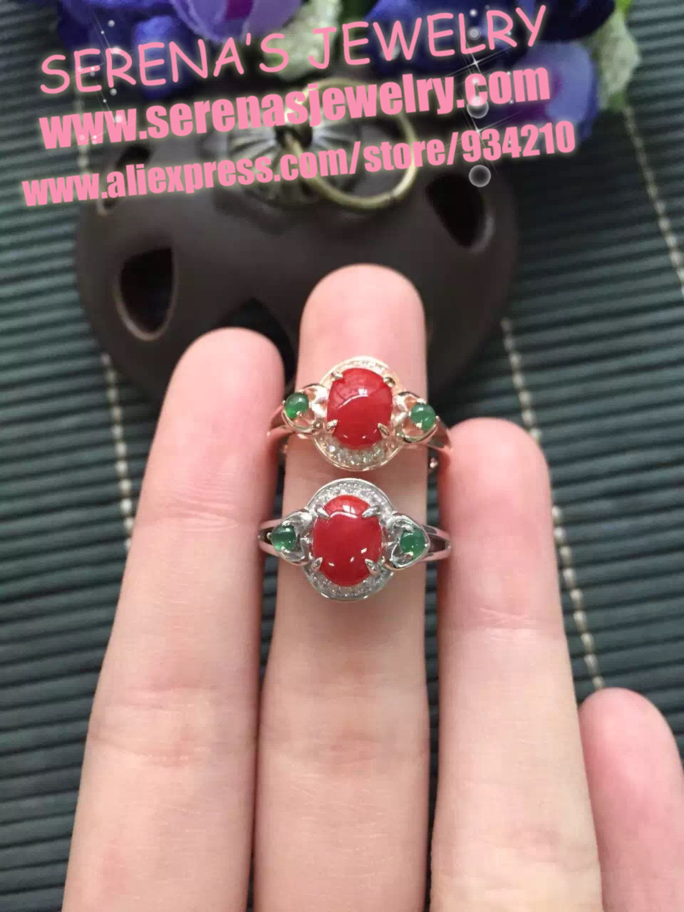 girls gift mum birthday present real 925 sterling silver natural red coral ring egg surfce 6*8mm fine jewelry