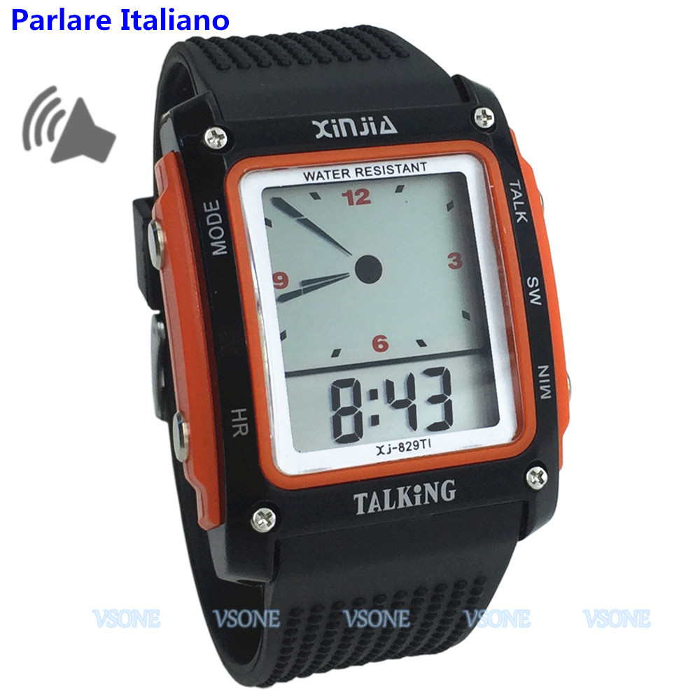 Black And Orange Color, Italian Talking Watch For The Blind And Elderly Electronic Digital Sports Watches 829TI-O