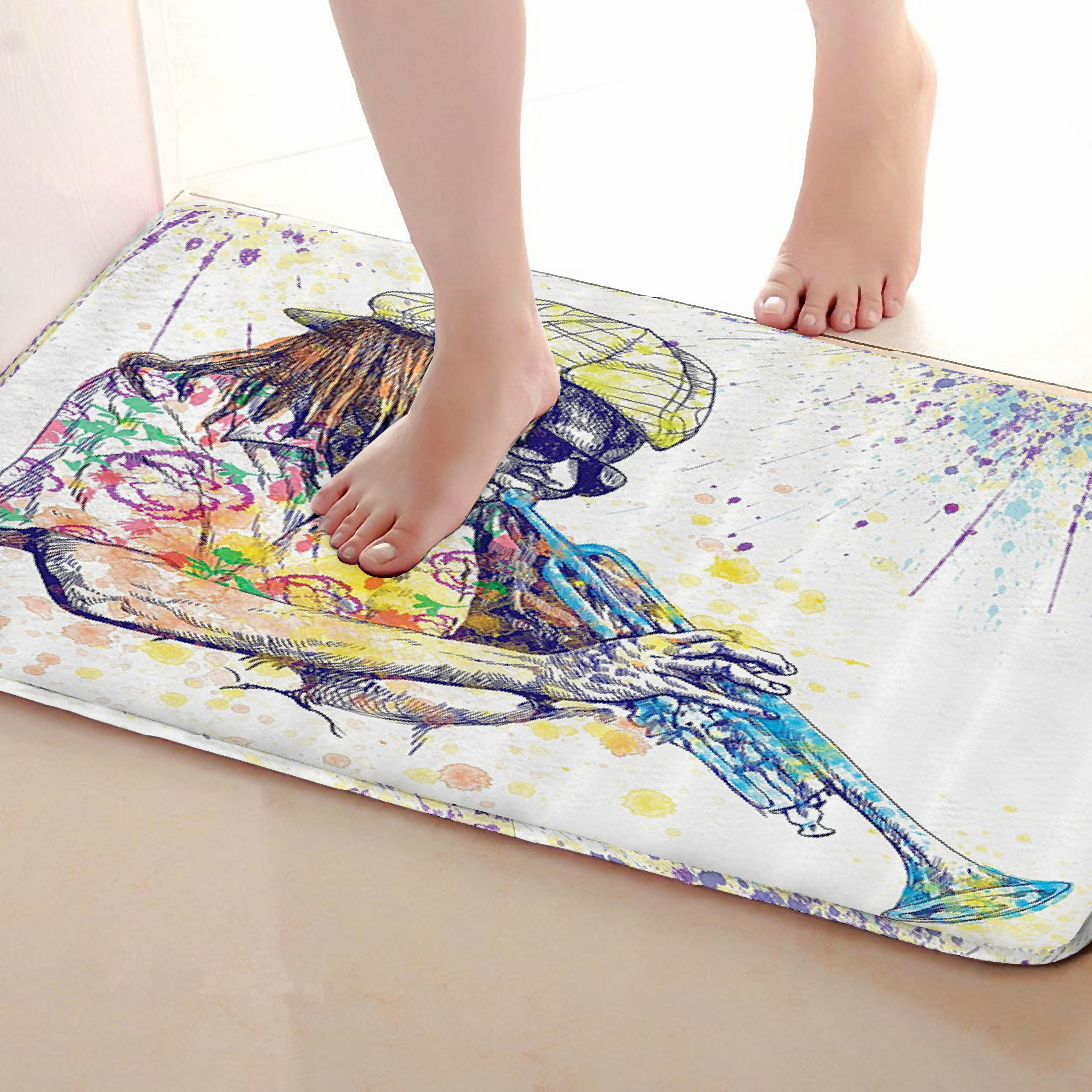 Musician Style Bathroom Mat,Funny Anti skid Bath Mat,Shower Curtains Accessories,Matching Your Shower Curtain