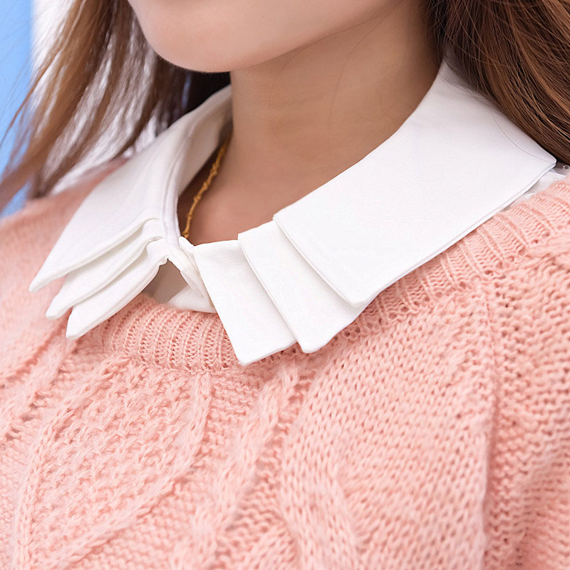 Three Lay White False Collar Women Clothes Cols Faux Shirt Tie Cotton Detachable Collars New Fashion False Collar Lapel BLuz