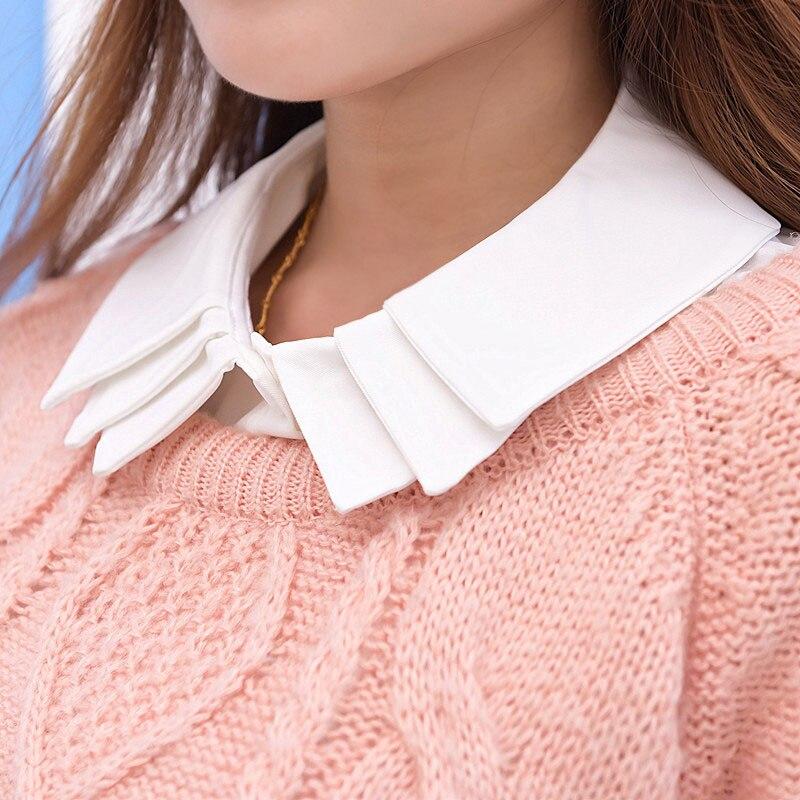 Three Layers White False Collar Women Clothes Cols Faux Shirt Tie Cotton Detachable Collars New Fashion False Collar Lapel BLuz