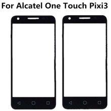 Preto para alcatel one touch pixi 3 4.5 4027d 4027x 4027 a5017 5017e vf795, touch de lente de vidro frontal e externo vidro exterior da tela