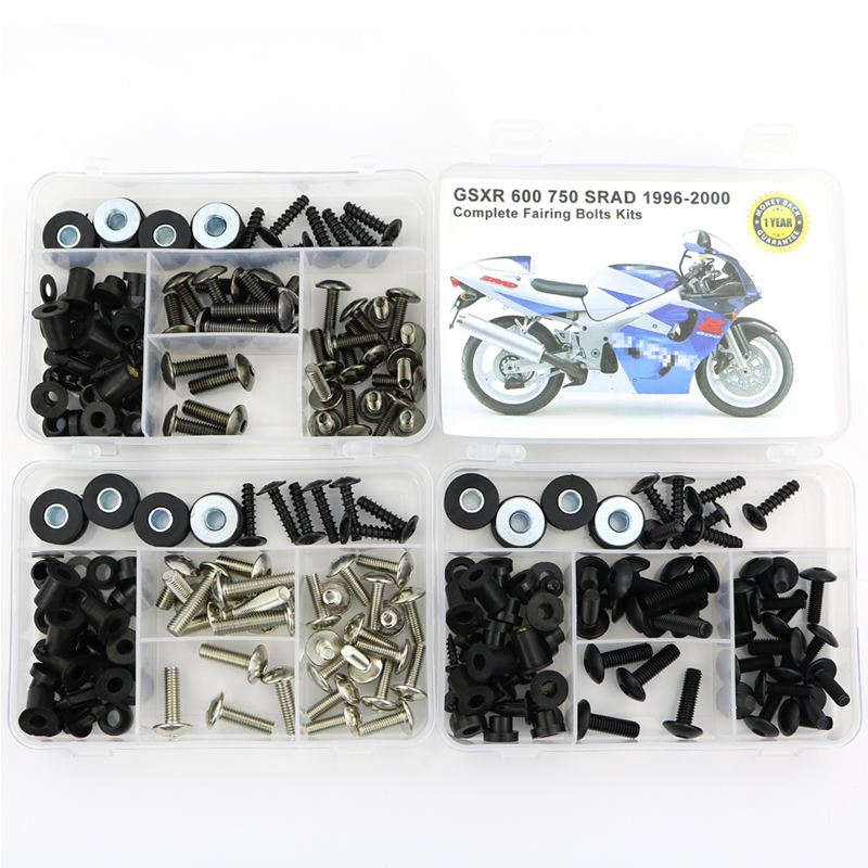 For Suzuki GSXR600 GSXR750 SRAD 1996-2000 Motorcycle Complete Full Fairing Bolts Kit Steel Clips Speed Nuts Covering Bolts