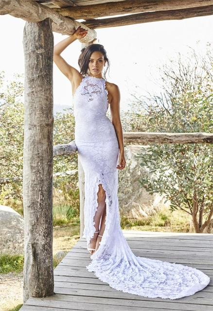 White Lace Mermaid Wedding Dresses 2017 Liques Halter Backless Front Split Bridal Gowns Boho