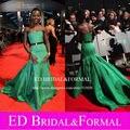 Lupita Nyongo vestido 2014 bafta de la alfombra roja de la sirena sin tirantes verde verde celebridad del satén vestido de noche Formal