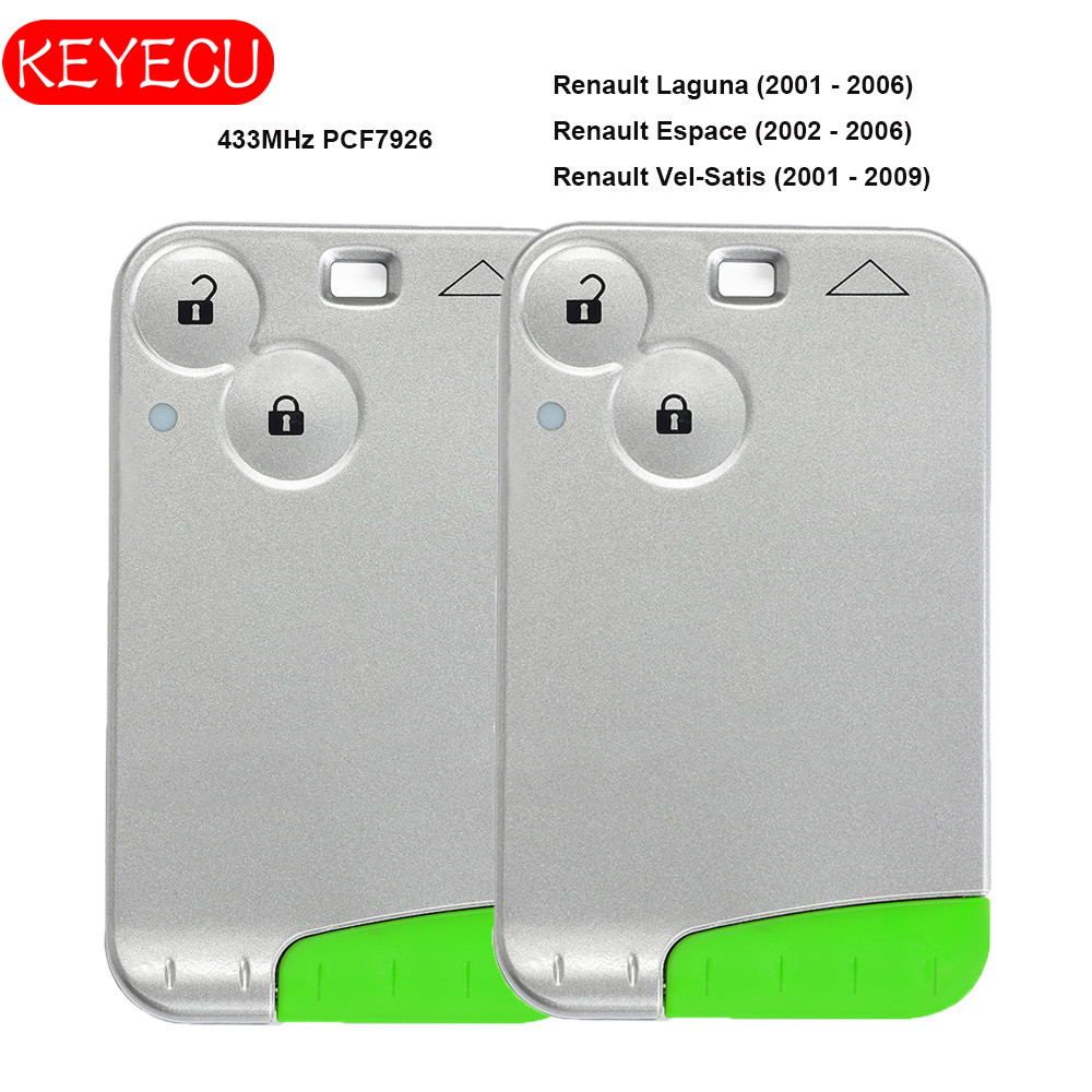 Keyecu Pair Smart Card Remote Key 2 Button 433MHz PCF7926 For Renault Laguna Espace Vel Satis 2001-2007