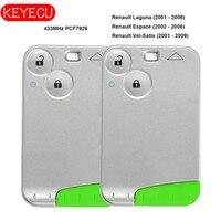 Keyecu çift akıllı kart uzaktan anahtar 2 düğme 433MHz PCF7926 Renault Laguna Espace Vel Satis 2001-2007