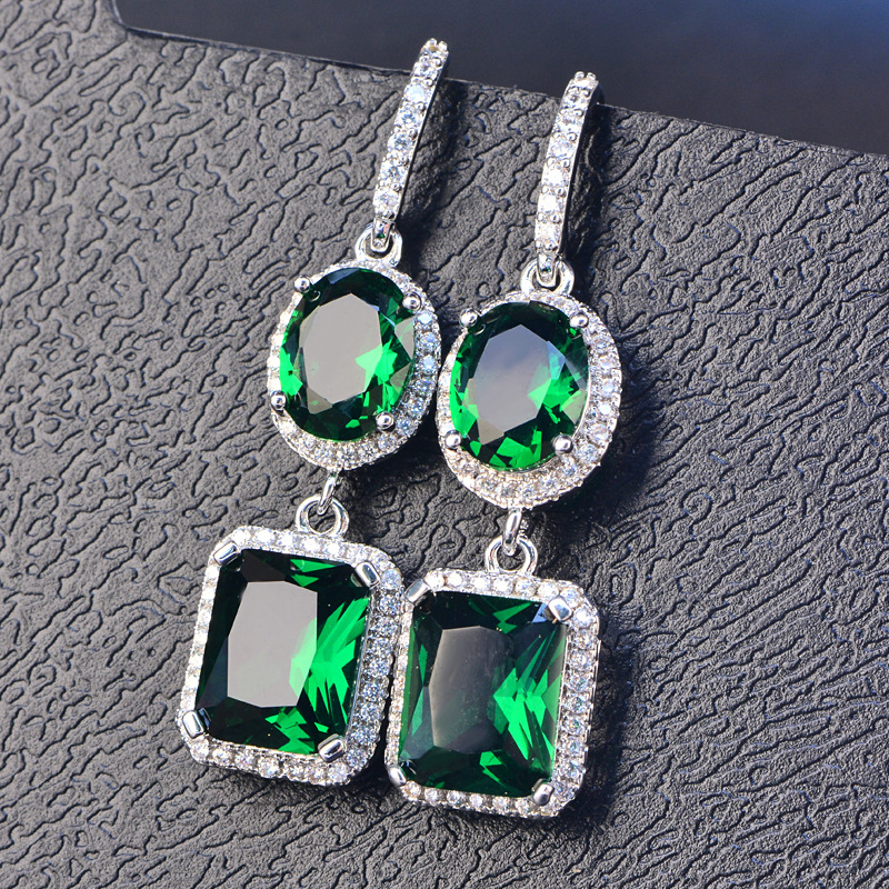 HTB1kP.dSXzqK1RjSZFoq6zfcXXai PANSYSEN 2019 Luxury Natural Emerald Women's Drop Earrings Genunie 925 silver Jewelry Earrings For Women Party Engagement Gifts