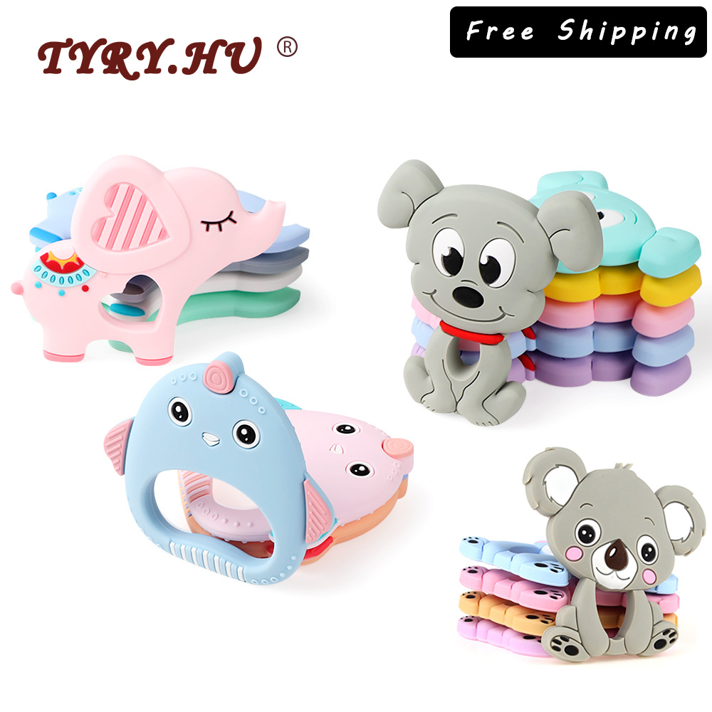 TYRY.HU 5pc Cartoon Baby Teether Rodents Koala Turtle Raccoon Food Grade Silicone Teething Toy Necklace DIY Pacifier Chain Tools