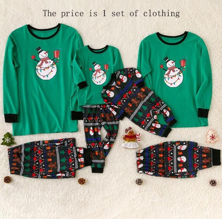 Рождественские пижамы для всей семьи, комплект рождественской одежды костюм для родителей и детей Домашняя одежда для сна новые одинаковые комплекты для семьи, для папы и мамы - Цвет: green