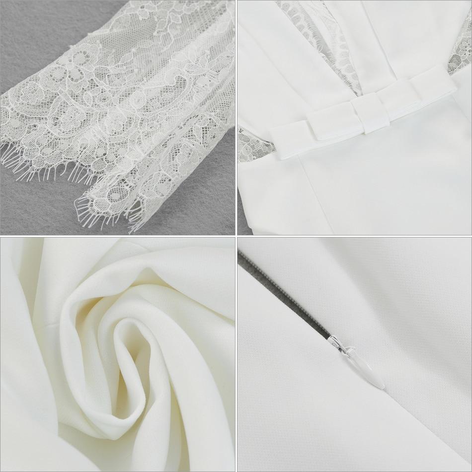Robe Col Blanche Profonde Clubwear 2018 D'été Moulante À Célébrité Femmes Adyce En White Longues Nouvelle V De Robes Sexy Dentelle Soirée Verano Manches qE1W6PO