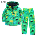 Kids Raincoat Suit Boys Clothes Set Cartoon Dinosaur Printing Hooded Kids Jacket+Pants Sports Suit 2017 Spring Children Clothing