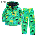 LZH Boys Clothes Set Cartoon Dinosaur Hooded Raincoat Jacket+Pants Kids Sport Suit 2017 Spring Girls Clothes Children Clothing