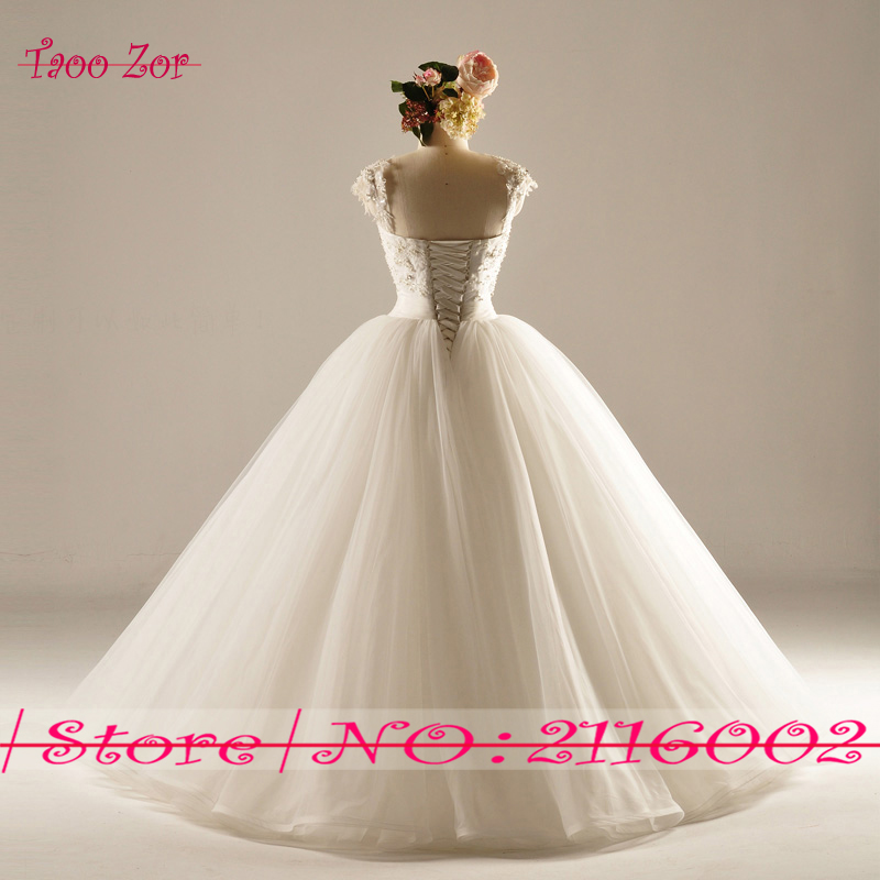Amdml Much Mărguri Crystal Perle Princess A-Line Lace rochii de - Rochii de mireasa - Fotografie 2
