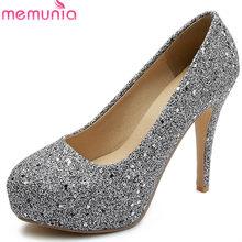9e552fba2 MEMUNIA 2018 hot mulheres bombas elegantes sapatos de prata de ouro da moda  sapatos rasos dedo
