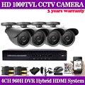 Home 4CH CCTV System 1080P Security System Surveillance Kits full 960H DVR and 4PCS 1000TVL IR Weatherproof Outdoor CCTV Camera