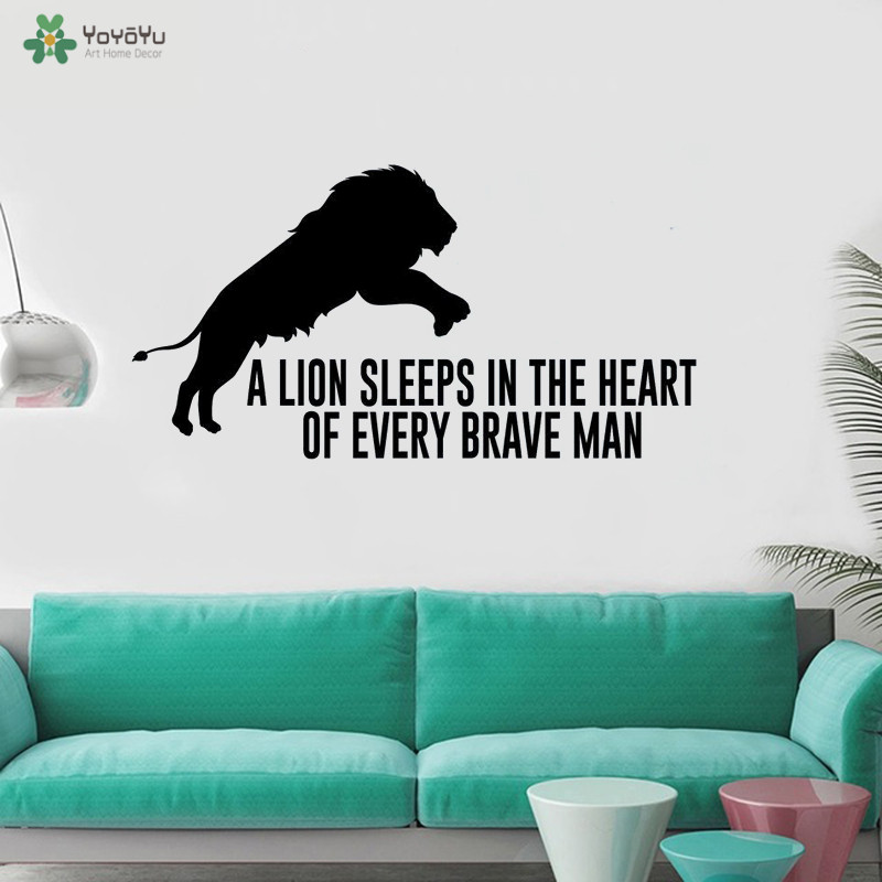 Wall Decal Lion Brave Kids Wall Window Art Sticker Kids Nursery Bedroom Removable Quotes Wall Decals Living Room Mural Y174 in Wall Stickers from Home Garden