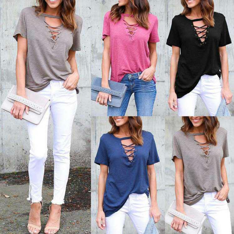 Summer explosion models loose womens simple nude color casual T-shirt sexy v- neck collar straps hollow short-sleeved shirt