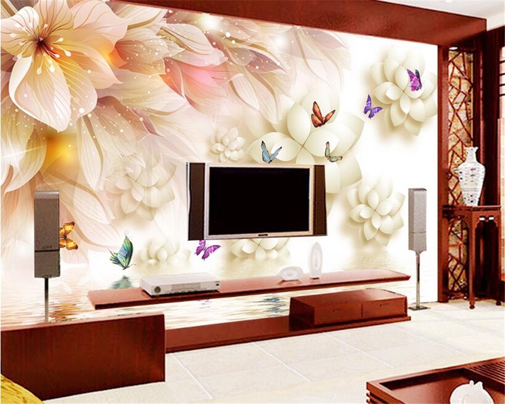 beibehang wallpaper for walls 3 d Stereo Mural Wallpapers Fantasy Flowers Lotus Tender Background papel de parede wall paper modern wallpaper for walls 3 d lotus floral wall paper roll non woven pink flower wallpapers bedroom green contact paper mural