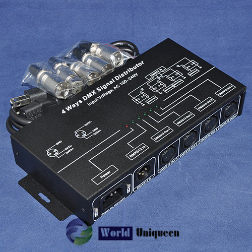 DMX Signal Distributor LED Controller,Aluminum Black Shell output 4channels AC100-240V 4W,Input 1 CH DMX512 Signal Common Anode  usb dmx512 controller computer connect with usb control led lamps dmx512 channels input output support windows xp 2000 98se sys