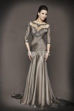 Sexy Backless Sheer O-Neck Grey Evening Dresses  3/4 Sleeves Beaded Crystal  Mermaid  Chiffon Formal Dress  ATE0925