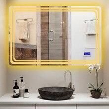 Умное зеркало для ванной, анти-туман, светодиодный светильник, настенное туалетное косметическое зеркало с Bluetooth