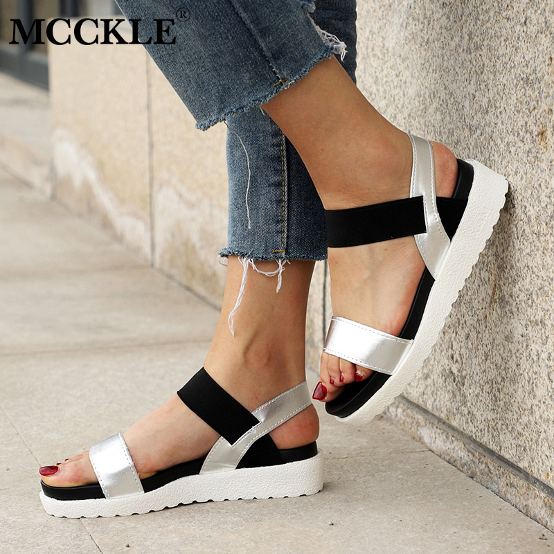 MCCKLE Women Sandals Slip On Elastic Band Female Summer Shoes Platform Roman Female Flat Sandals mujer sandalias Ladies Footwear mcckle summer casual flats women sneakers plus size cut outs slip on elastic band ladies loafers flock footwear female shoes