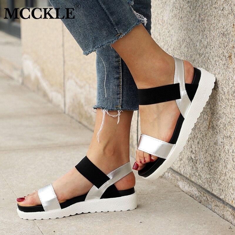 MCCKLE Women Sandals Slip On Elastic Band Female Summer Shoes Platform Roman Fem
