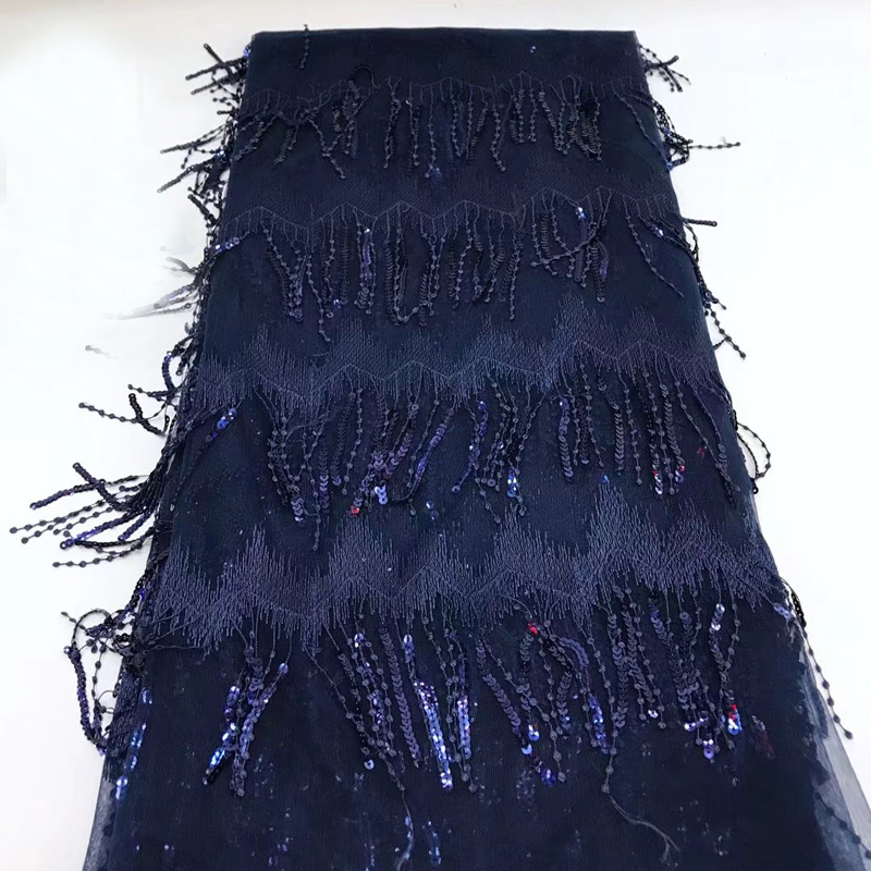African lace fabric 5yards pc fashion tassels lace navy blue French net lace fabric with sequins