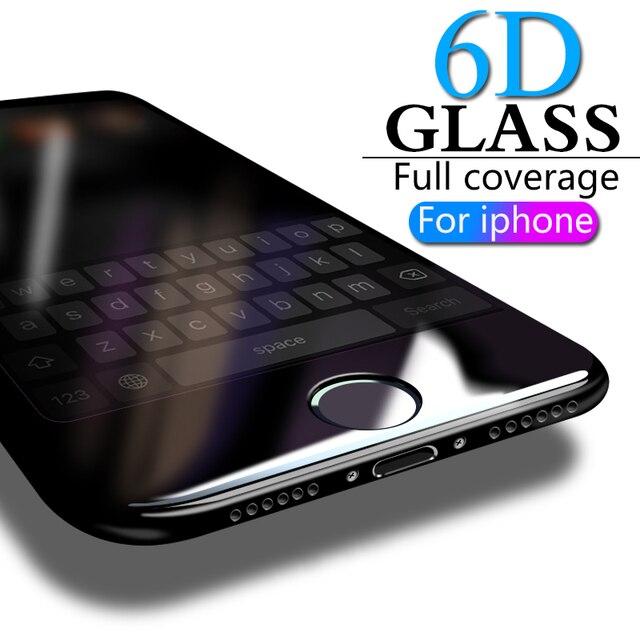 Закаленное стекло 6D на весь экран для iPhone 8, 7, 6, 6S Plus, X, стекло для iPhone 7, 8, X, 6, защита экрана, защитное стекло на iPhone 7, пленка