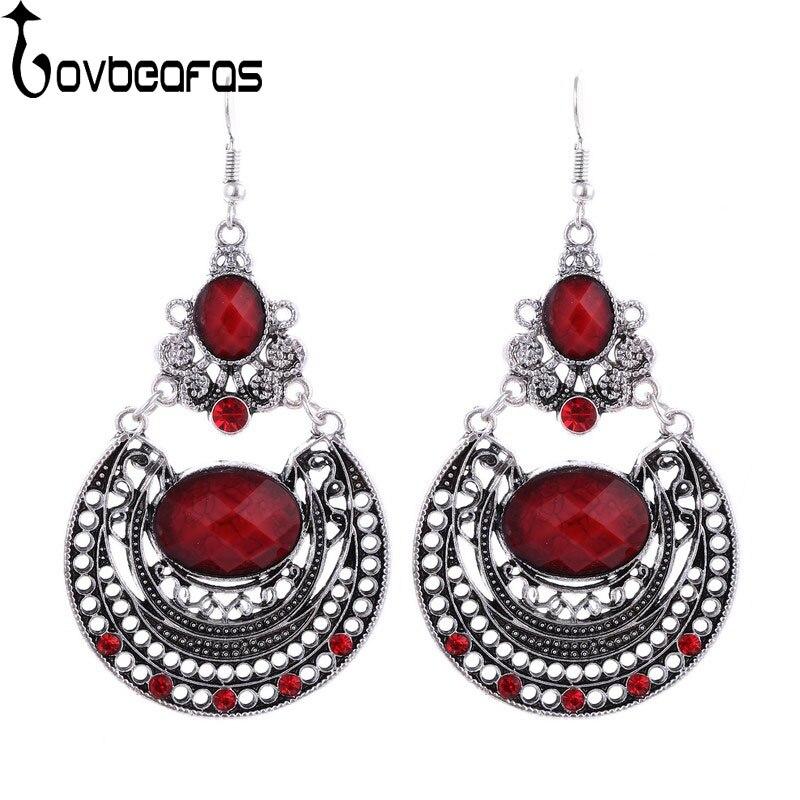 LOVBEAFAS 2018 Fashion Bohemian Drop Earrings For Women Metal Carving Hollow Ethnic Gypsy Dangle Vintage Earrings Fine Jewelry