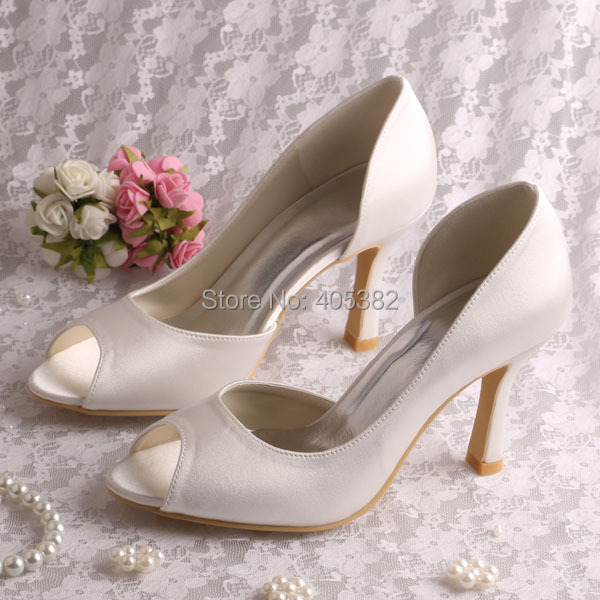 Wedopus Hot Ing Brand Women Wedding Bridal Shoes Medium Heel P Toe Cream Satin Dropshipping In S Pumps From On Aliexpress Alibaba