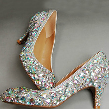 Wedding Sparkly Glitter Middle Heels For Prom Rhinestone Wedding Shoes Bridal Shoes woman fashion Prom dress shoes