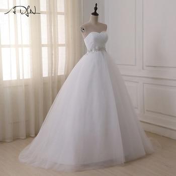 ADLN Stock Wedding Dresses Vestidos de novia Sweetheart Sweep Train Lace Applique Corset Wedding Dress Gowns Robe De Mariage 5
