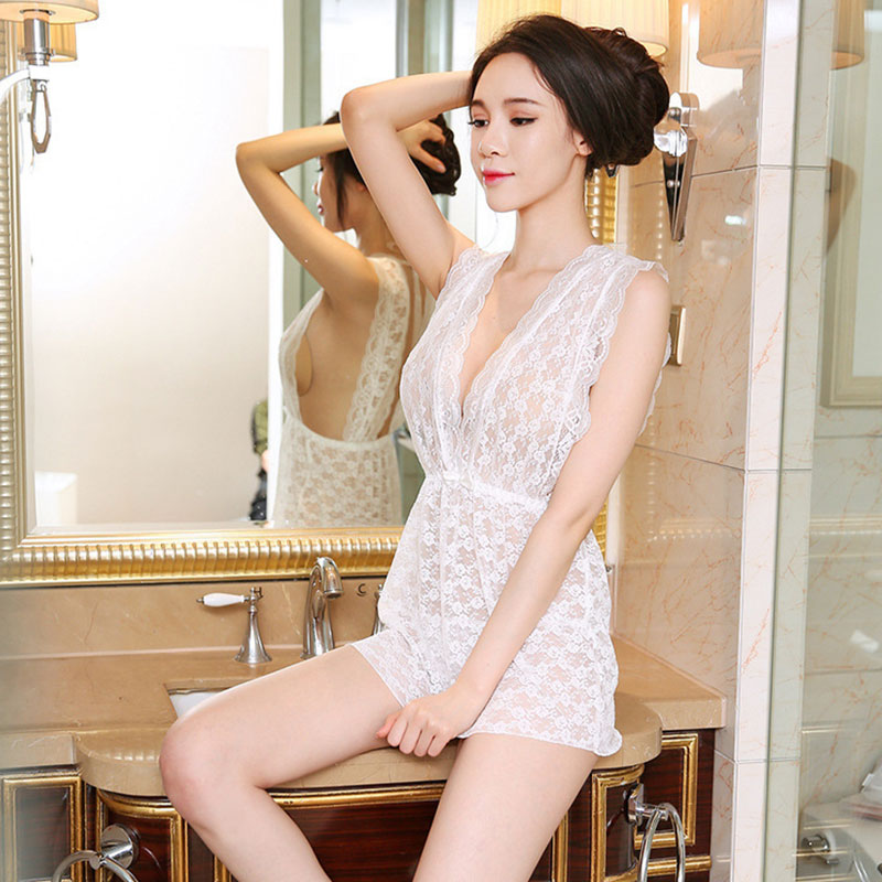 High end Sexy Lace Pajamas Large Size Temptation Sexy Backless Underwear Transparent Costumes in Babydolls Chemises from Novelty Special Use