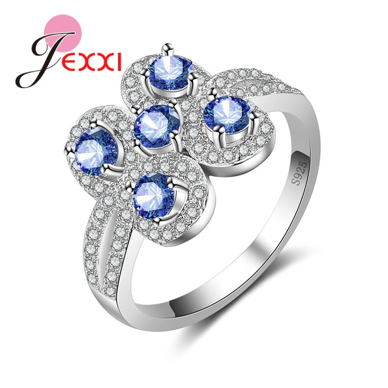 JEXXI Noble Created Flower shaped Ring With 5 Petal Crystal 925 Sterling Silver Jewelry Clear New Arrival For Women Lady.