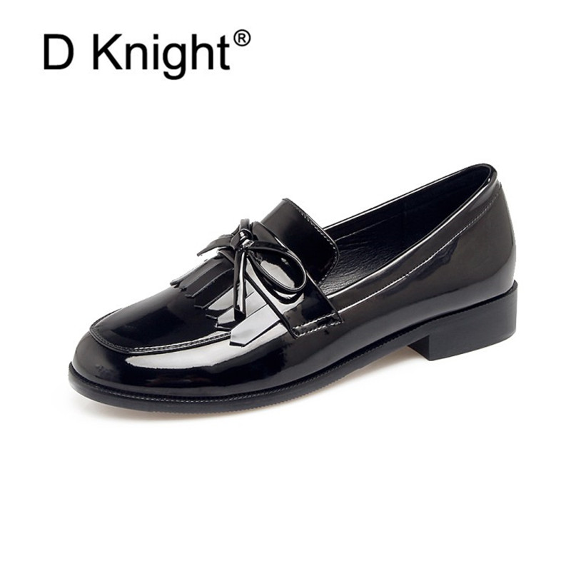 Tassel Bowknot Design Loafers Women Retro Round Toe Shoes Patent Leather Slip-on Women Oxford Causal Ladies Flats Working ShoesTassel Bowknot Design Loafers Women Retro Round Toe Shoes Patent Leather Slip-on Women Oxford Causal Ladies Flats Working Shoes