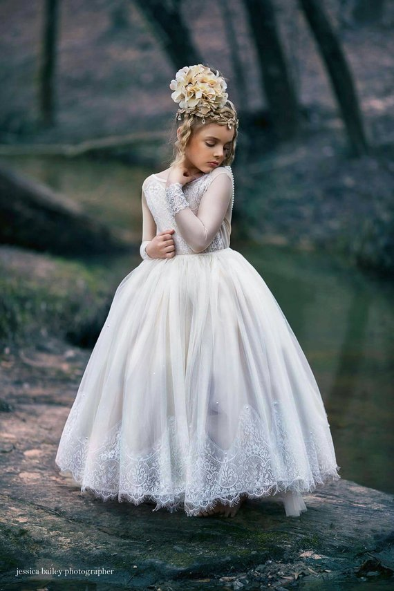 Elegant Ball Gown Flower Girl Dresses for Weddings Party 2019 Little Girls Holy First Communion Pageant Gowns with Beads