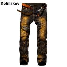 KOLMAKOV 2017 new Men broken hole stripe kind Jeans, Fashion Brand Denim casual pants Men,embroidered conventional jean males,