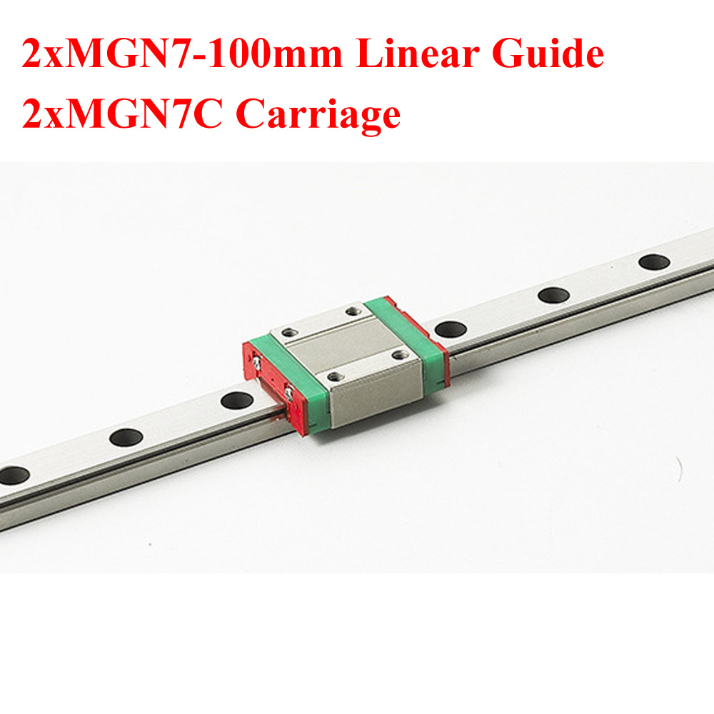 2Sets MR7 7mm Mini MGN7 Linear Guide Rail Length 100mm With MGN7C Linear Block Carriage cnc part mr7 7mm linear rail guide mgn7 length 600mm with mini mgn7c linear block carriage miniature linear motion guide way