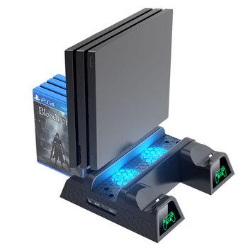 OIVO PS4 PS4 Slim PS4 Pro podwójna ładowarka do pada konsola pionowa podstawka chłodząca stacja ładująca wentylator z lampą do SONY Playstation 4 tanie i dobre opinie PLAYSTATION4 TP4-1785B for PS4 PS4 Slim PS4 Pro 4 in 1 ps4 cooling stand Game cards collection PS4 PS4 Slim PS4 Pro cooling stand